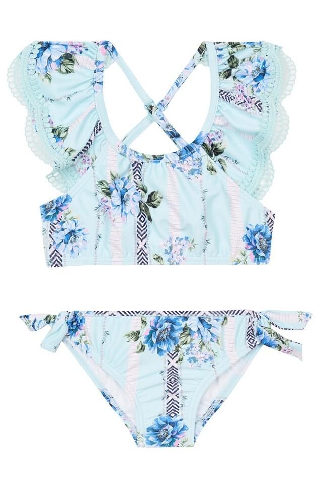 Kislány Bikini szett Seafolly Toddlers Nannas House Frill Crop Soft Blue