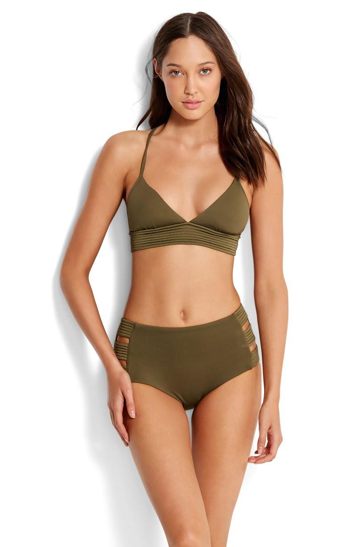 Bikini alsó Seafolly High Waisted Quilted Dark Olive
