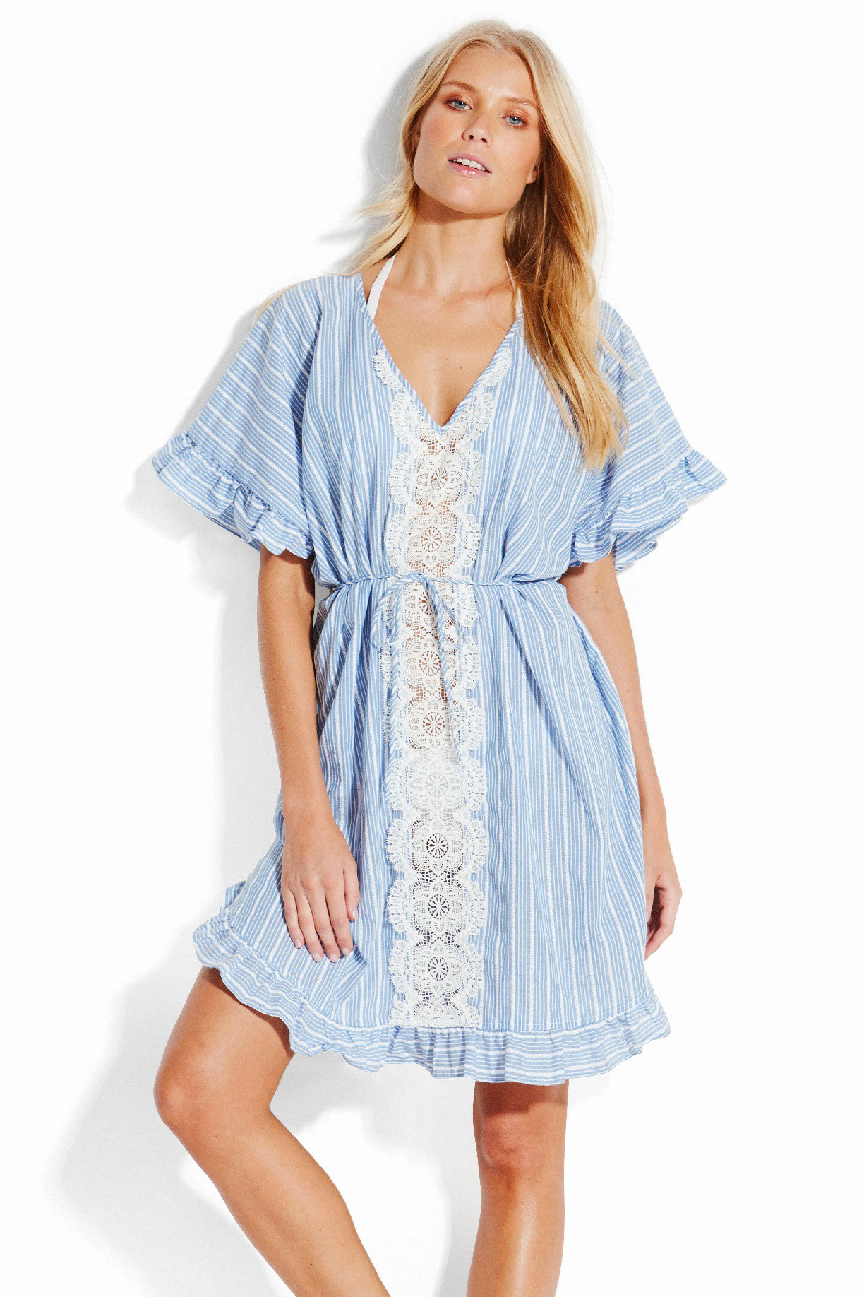 Kaftan Seafolly Lace Trim Stripe Chambray