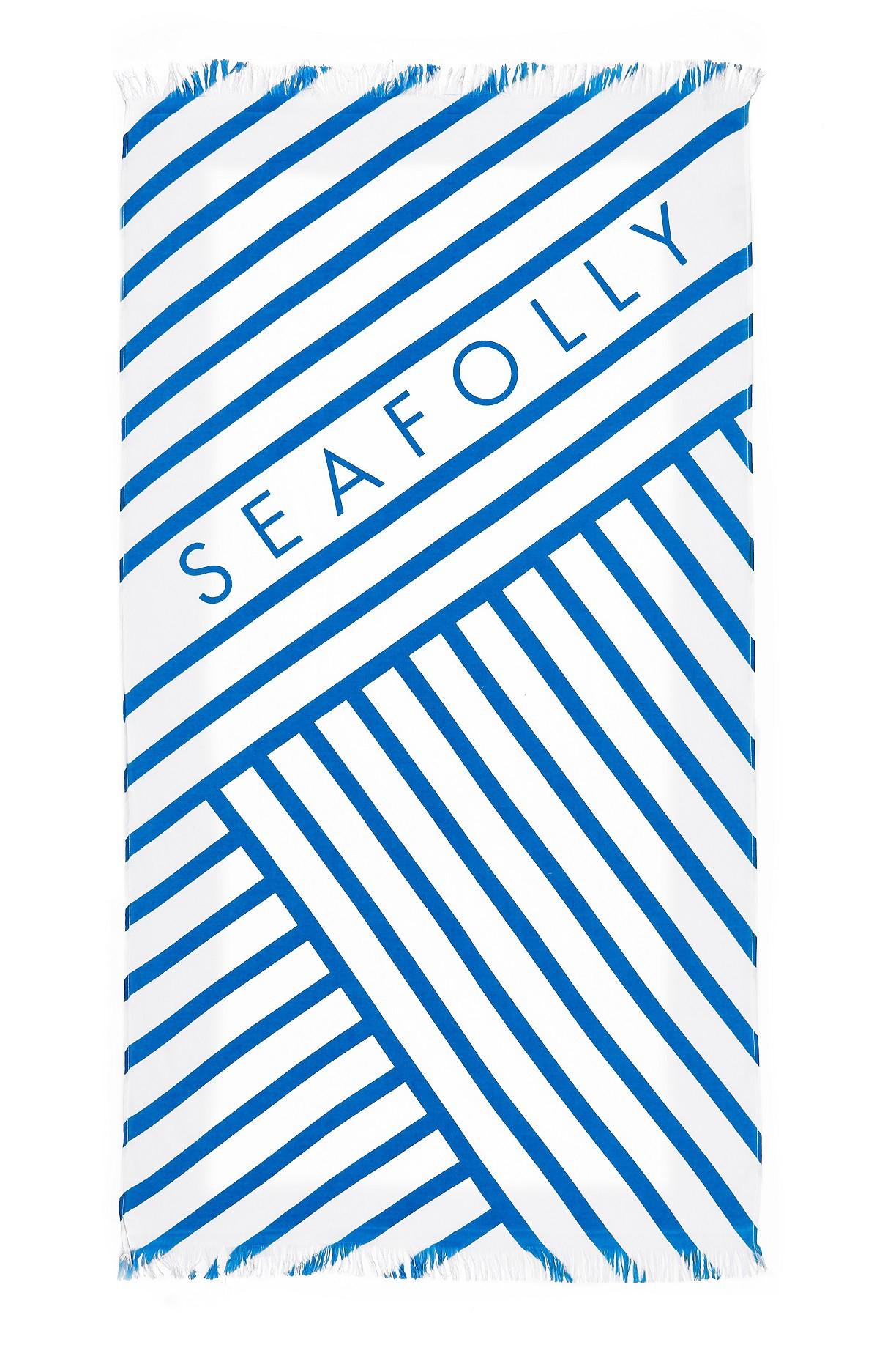 Törülköző Seafolly Angled Stripe Beach Electric Blue