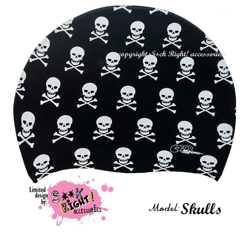 """Úszósapka Mintás Limited Design Felnőtt """"Skulls Black"""""""