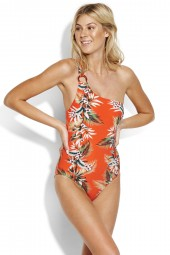 Fürdőruha Seafolly Ocean Alley One Shoulder Tangelo