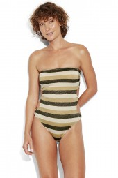 Fürdőruha Seafolly Sunset Stripe Bandeau Lurex Gold