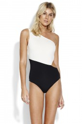 Fürdőruha Seafolly Pop Block One Shoulder Black