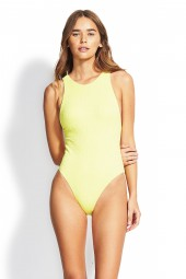 Fürdőruha Seafolly Your Type High Neck Lime Light