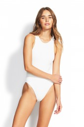 Fürdőruha Seafolly Your Type High Neck White