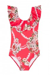 Kislány Fürdőruha Seafolly Little Village In Como Ruffle Tank Rose Pink