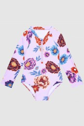 Kislány Fürdőruha Seafolly Toddlers Botanical Burst Long Sleeve Surf Tank Lilac