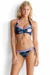 Bikini Seafolly Moonflower Soft Cup Halter Midnight