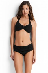 Bikini alsó Seafolly Gathered Front Retro Black, Indigo