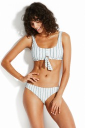 Bikini Seafolly Sea Stripe Tie Front Tank White