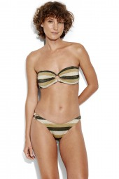 Bikini Seafolly Sunset Stripe Ring Bandeau Lurex Gold