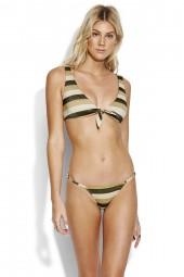 Bikini Seafolly Sunset Stripe Tie Front Crop Lurex Gold