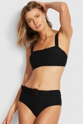 Bikini alsó Seafolly Capri Sea Wide Side Retro Black