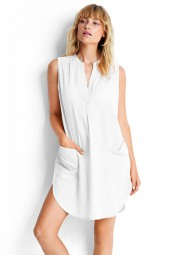 Ingruha Seafolly Sleeveless Boyfriend Beach White