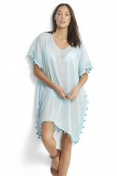 Kaftan Seafolly Modern Love Mini Tassel Gauze Beach Blue