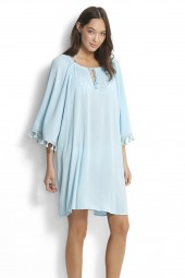 Kaftan Seafolly Modern Love Tassel Trim Beach Blue