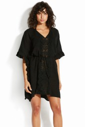 Kaftan Seafolly Sea Stripe Lace Trim Black