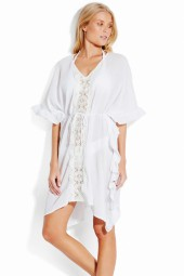 Kaftan Seafolly Sea Stripe Lace Trim White