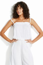 Top Seafolly Sea Stripe Textured Gauze Cami White