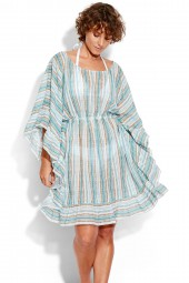 Kaftan Seafolly Inka Gypsy Ruffled Stripe White