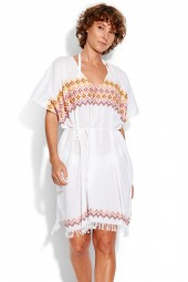 Kaftan Seafolly Inka Gypsy Geo Embroidered White