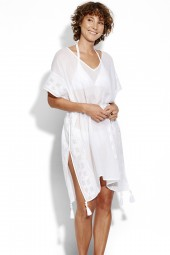 Kaftan Seafolly Inka Gypsy Shadow Embroidered White