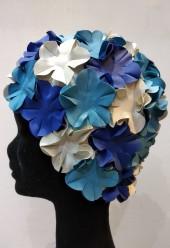 Úszósapka Flower - Kék-fehér-világoskék
